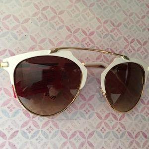 Betsey Johnson White and Gold Frame Sunglasses